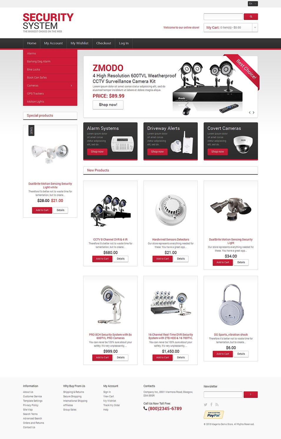 security systems magento theme