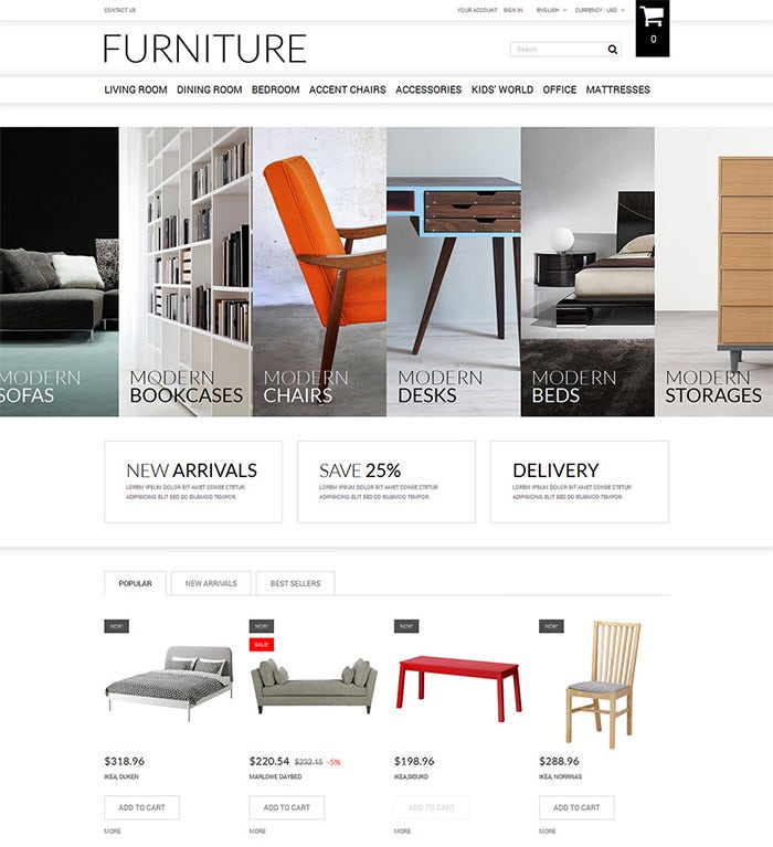 selling furniture online prestashop theme