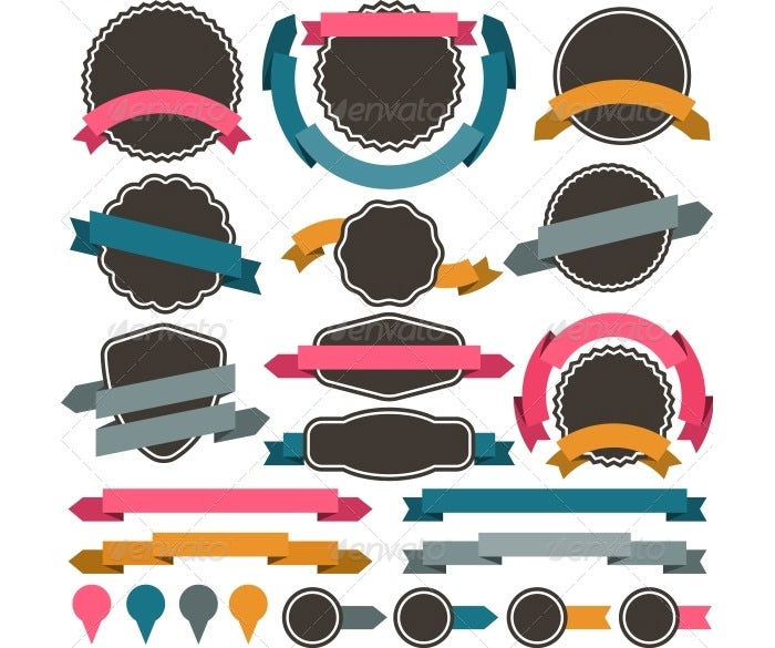 set of retro design elements0