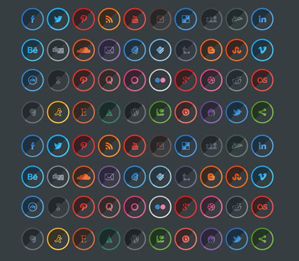 shaded social media icons