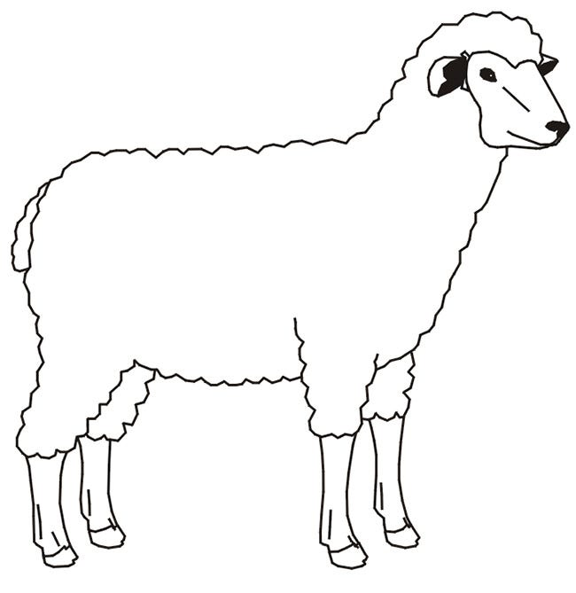 Farm animal template animal templates free premium for Lamb coloring page