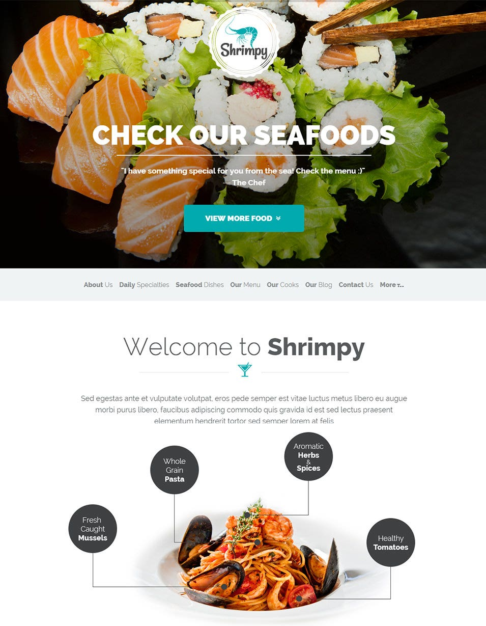 shrimpy responsive restaurant wordpress theme