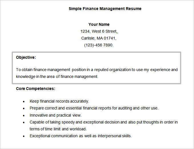 simple finance management resume template223