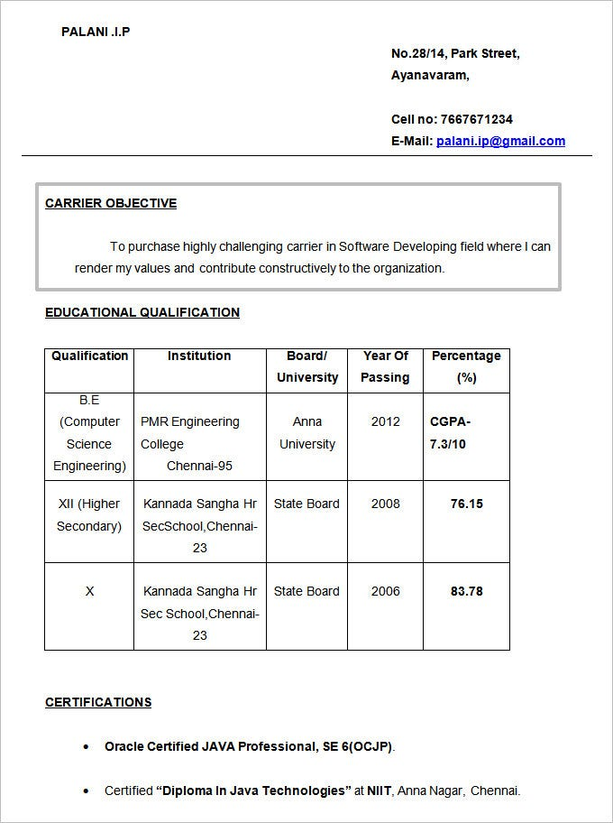 Resume For Freshers Sample