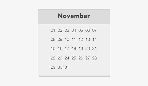 simple html calendar template 1