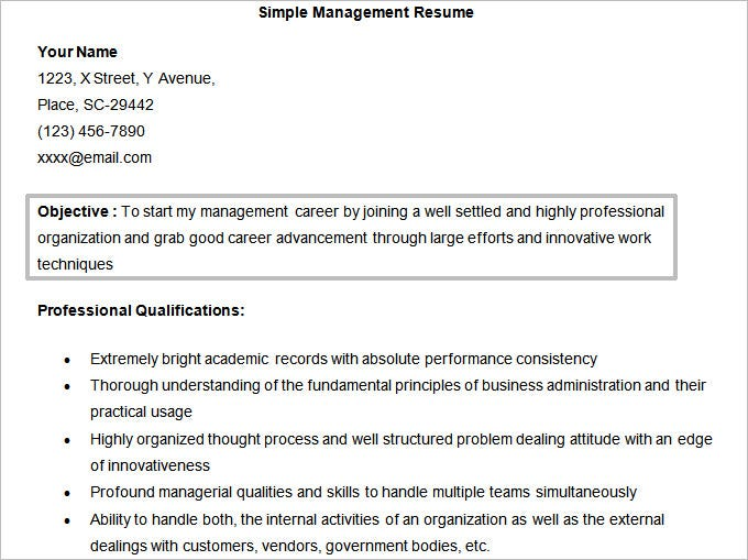 Simple Management Resume Template