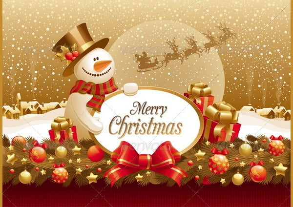 snowman with christmas greeting and decoration