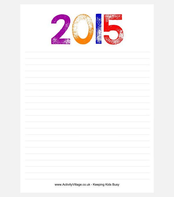 stamped 2015 writing paper
