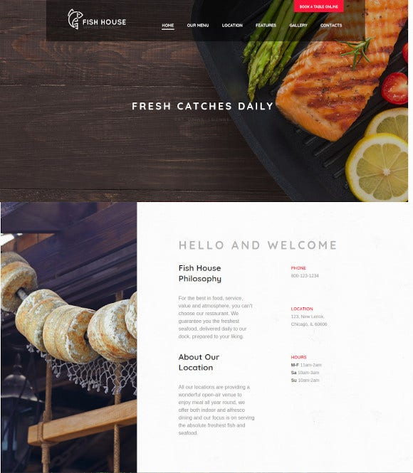 stylish seafood restaurant bar wordpress theme