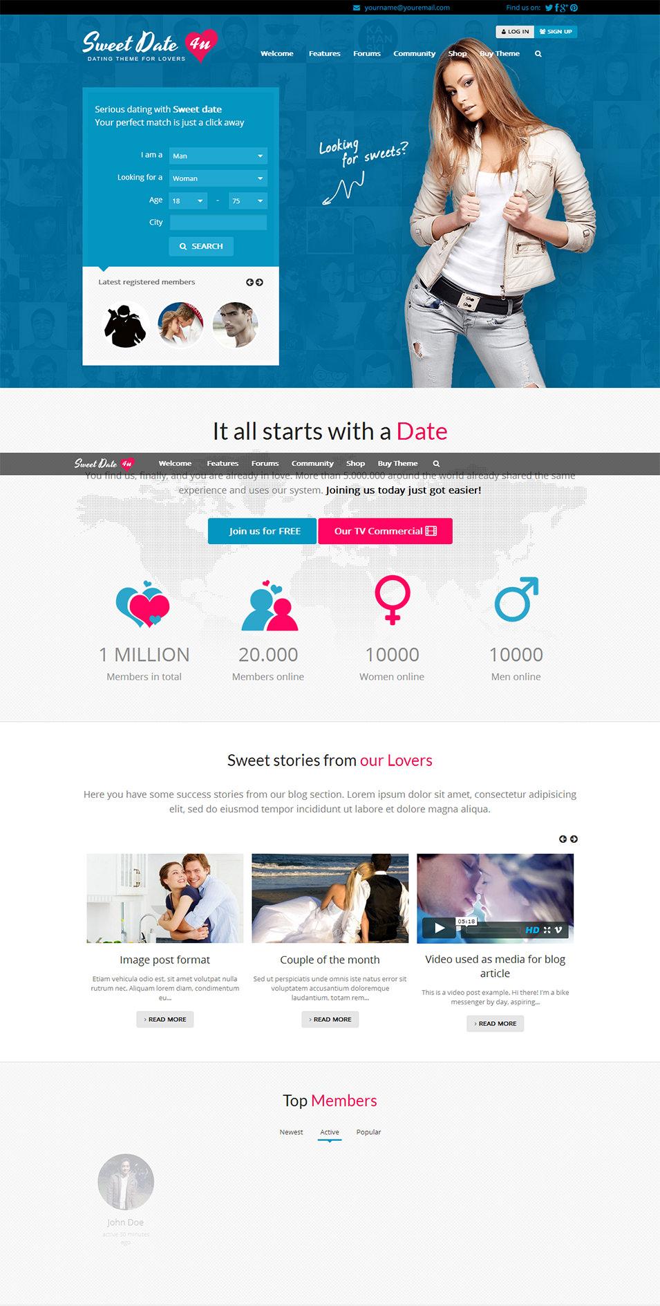 Free dating wordpress themes