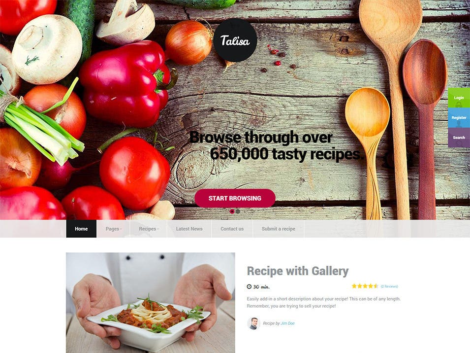 30 best food wordpress themes templates free premium templates talisa food recipes wordpress theme 43 talisa free demo download forumfinder Choice Image