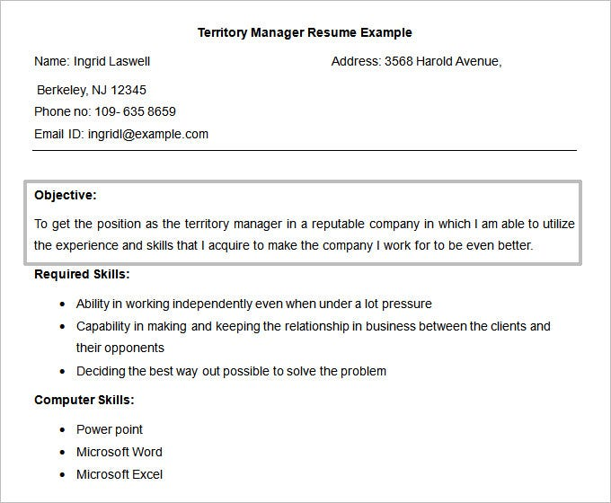 Free Doc Territory Manager Resume Objective Template