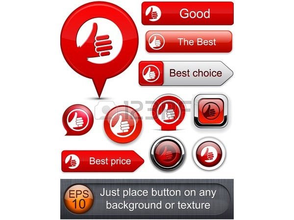 Thumb up red web buttons
