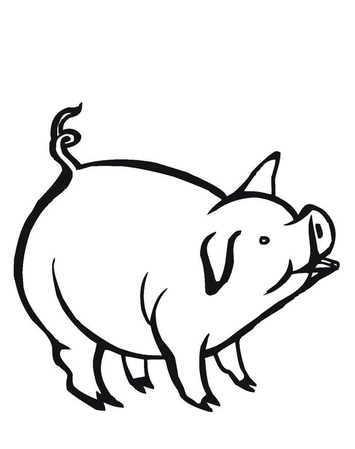 Pig template animal templates free premium templates for Piglet coloring pages