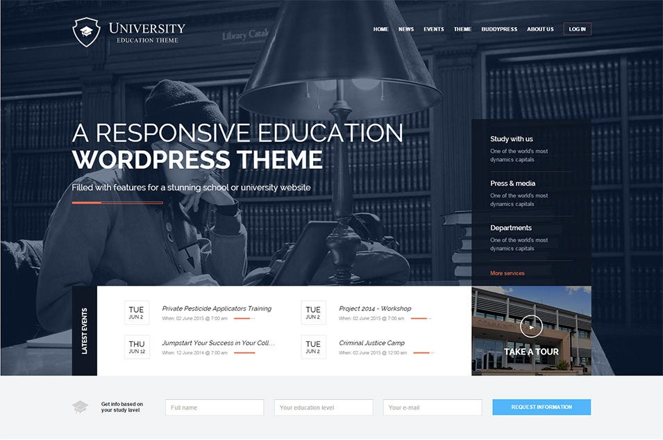 university wordpress theme for schools and colleges
