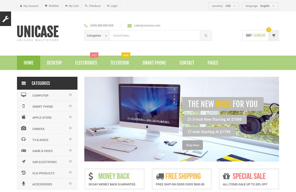 unicase electronics ecommerce html template