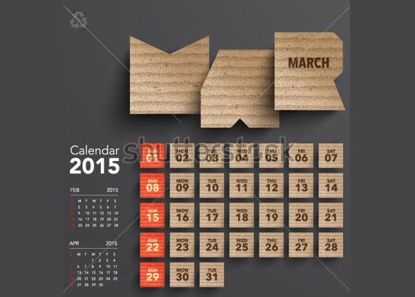 vector 2015 cardboard calendar design