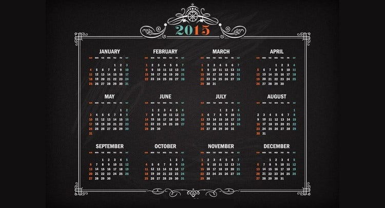 vector retro calendar 2015 on blackboard
