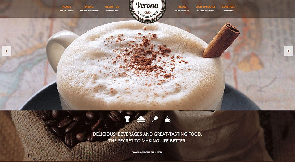 verona restaurant cafe responsive wordpress theme