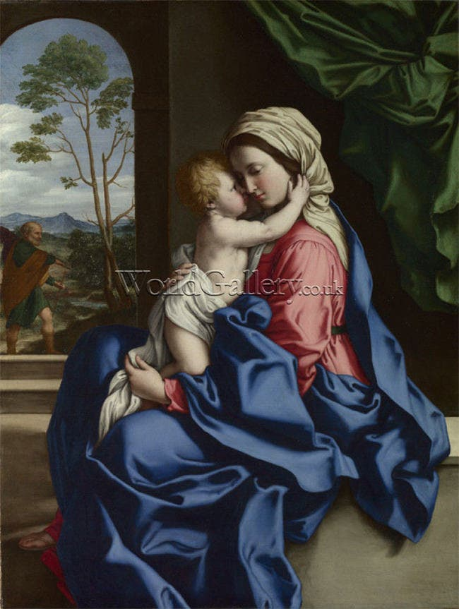 virgin and child embracing art print