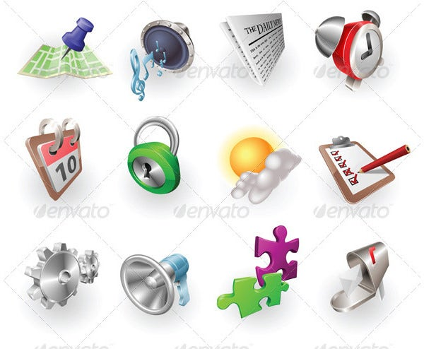 web and application icon set