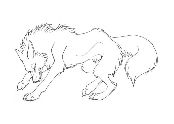 wolf line art template