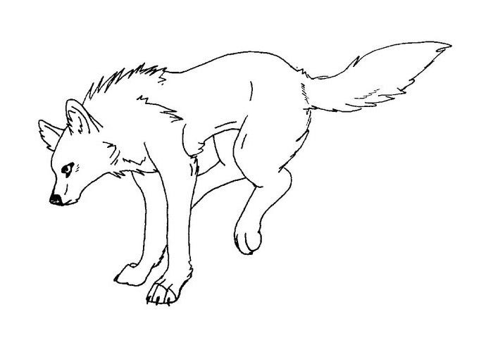 wolf outline coloring page