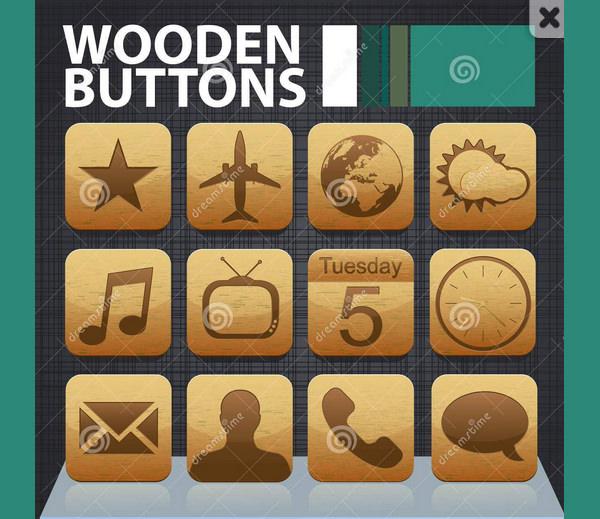 wooden app buttons