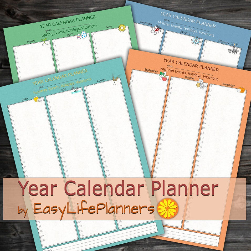 yearly calendar planner digital