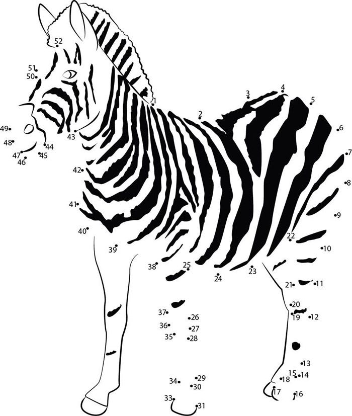 young zebra dot to dot