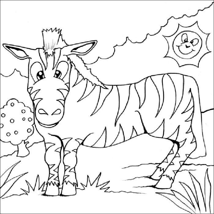 zebra coloring page for kids