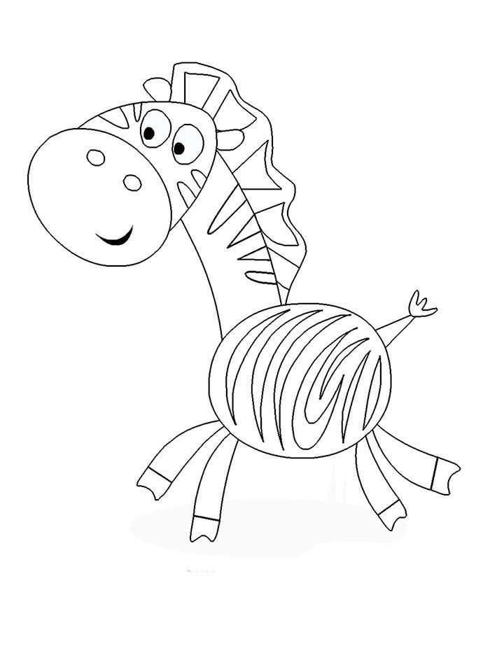 zebra printable kids coloring page