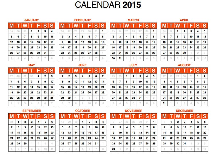 2015 yearly calendar template in landscape format - 60 best 2015 yearly calendar templates to download