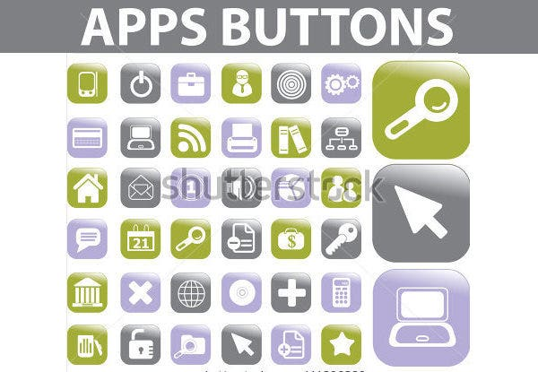 apps buttons icons set