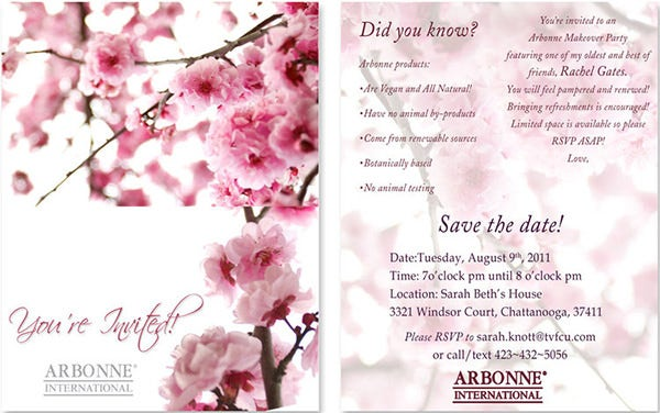 Arbonne Makeover Invitation