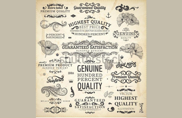 calligraphic vintage design elements set