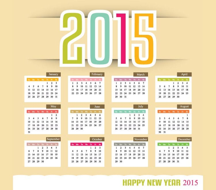 colorful new year text with month in block 2015 vector calendar