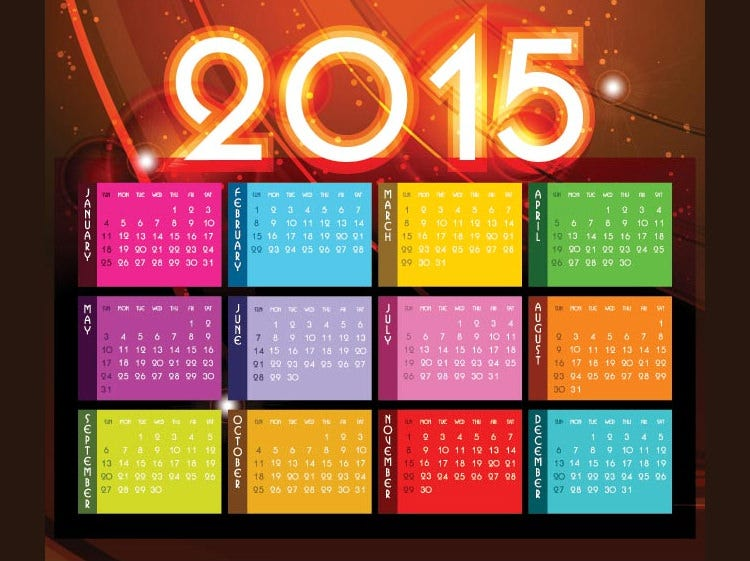 colorful month block with glowing 2015 typography heder