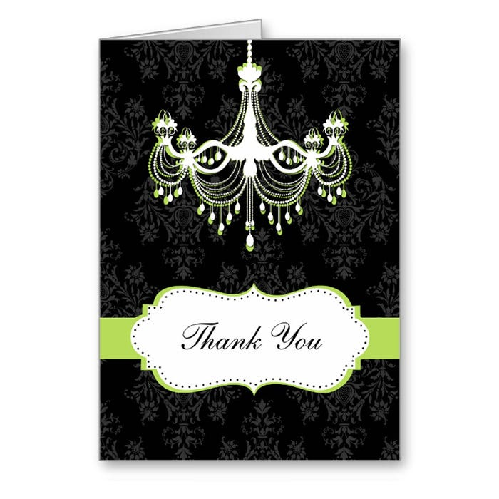 damask green chic chandelier thank you cards