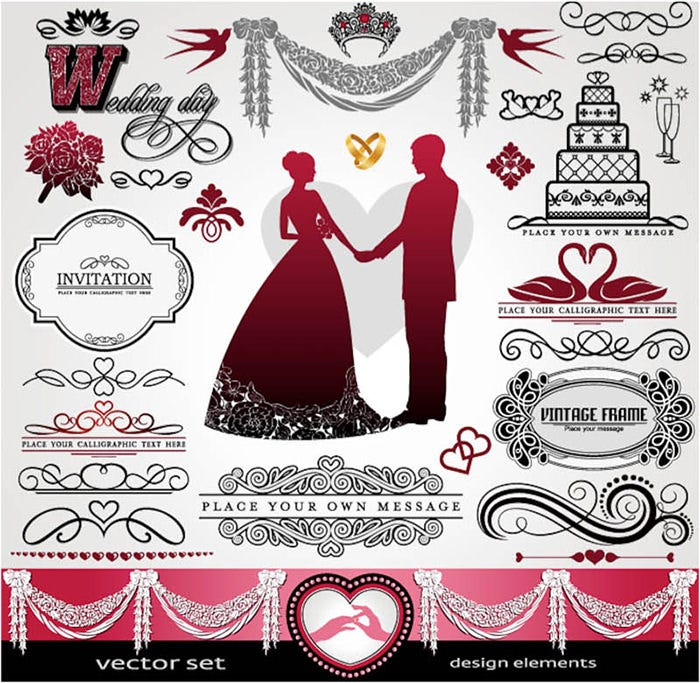 decorative classic wedding design elements vector