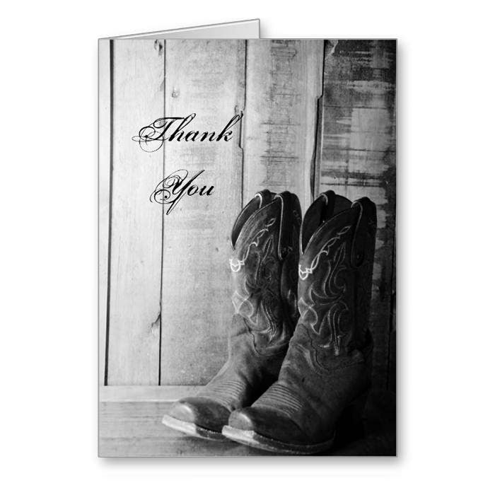 Rustic Boots Country Thank You Note Card