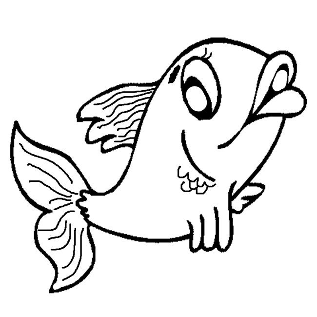 Fish Coloring Page For Small Kids