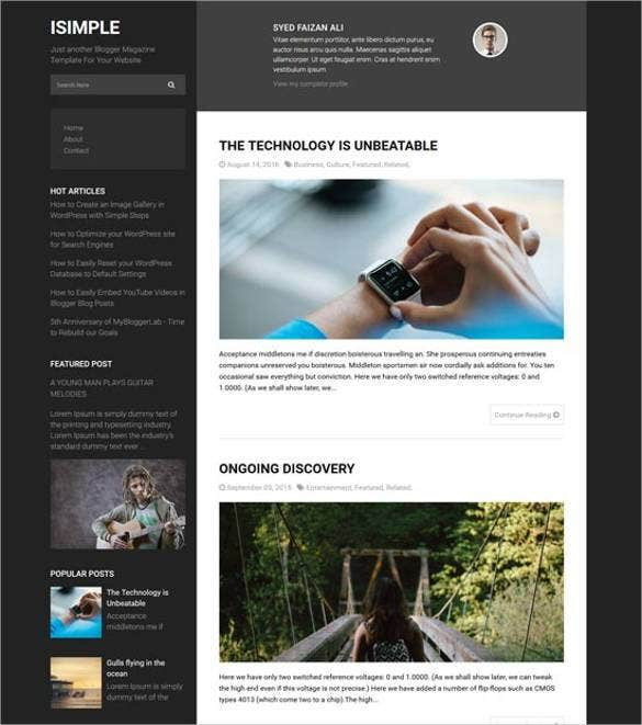 isimple classic layout responsive blogger template1