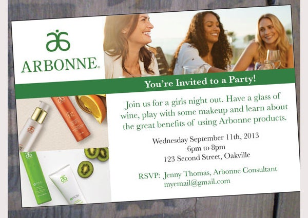 Arbonne Party Invitation