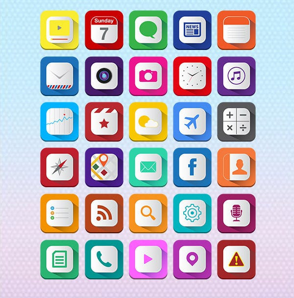 long shadow icons ios7