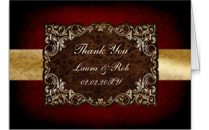 rustic red regal wedding Thank You Cards