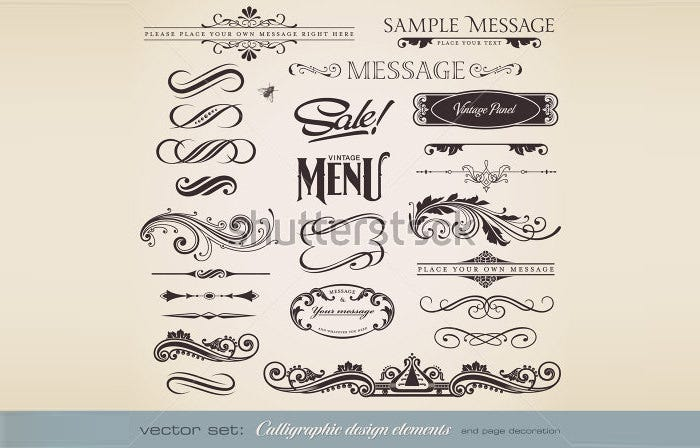 stock vector vector set calligraphic design elements and page decoration lots of useful elements to 67506667