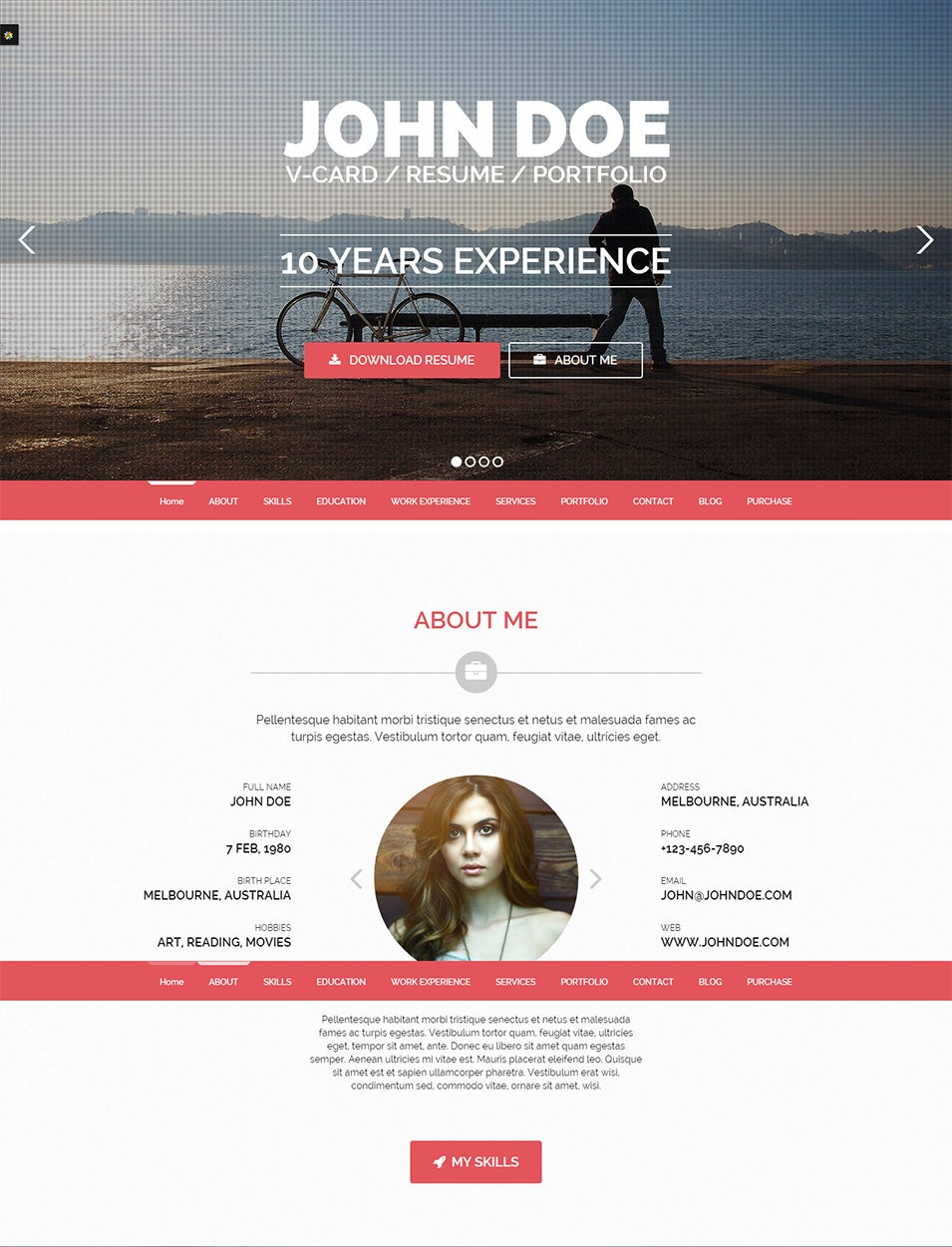 Personal Page WordPress Template