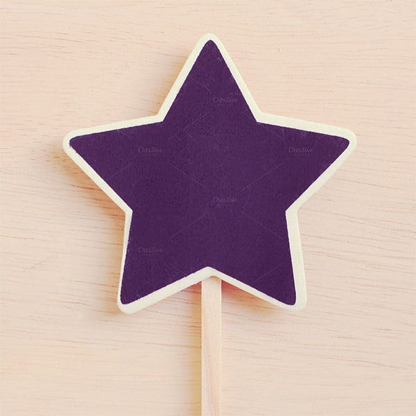 wood star shape blackboard