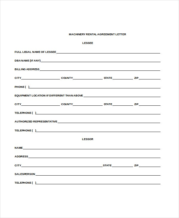 Machinery Rental Agreement Letter Free Doc Download